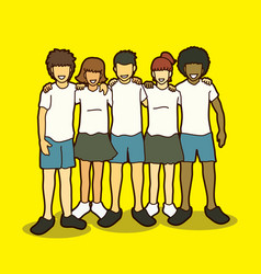 group of children hugging vector image