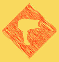 Hair dryer sign red scribble icon vector