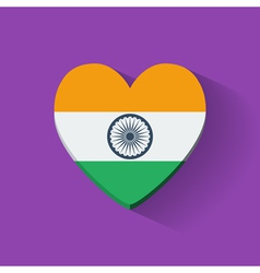 Heart-shaped icon with flag of India vector image vector image