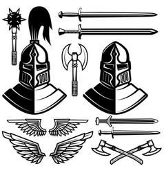 knight helmets swords axes design elements for vector image vector image