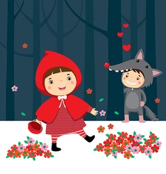 Little red riding hood and gray wolf vector