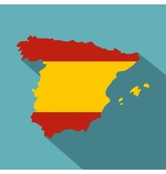 Map of spain icon flat style vector