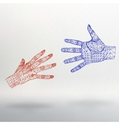 Mesh polygonal background hand of lines the vector