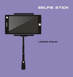 Monopod selfie taking selfie photo on smart phone vector