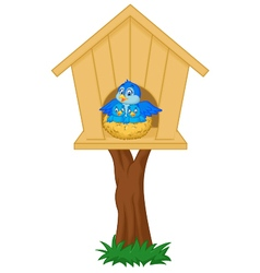 Mother bird with her two babies in the nest vector image