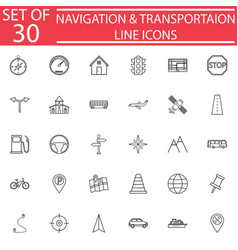 Navigation line icon set transport signs vector