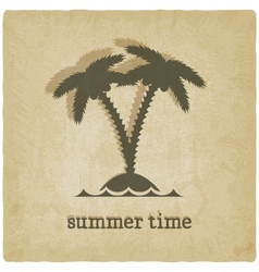 Old background with palm tree vector