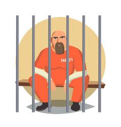 Prisoner in jail gangsta man arrested and vector