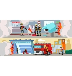 Rescue Service Colorful Horizontal Banners vector image