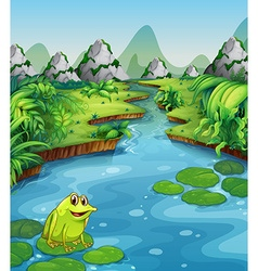 River scene with frog on leaf vector