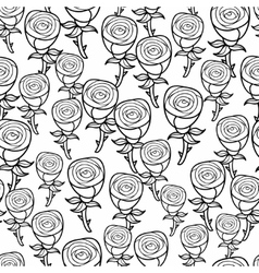 Romantic pattern of black and white roses vector