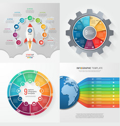 set of 4 infographic templates with 9 processes vector image vector image
