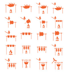 Set of barbecue grilll with boar and chicken icons vector