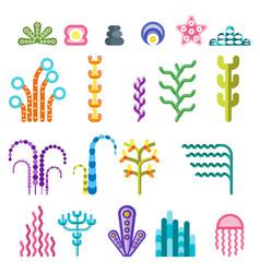 Set underwater plants vector