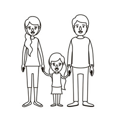 Silhouette caricature family with young father and vector