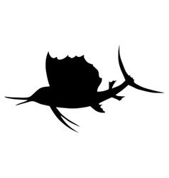 Silhouette of spearfish vector image vector image