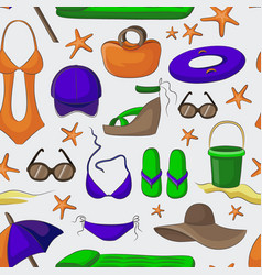 Summer and beach accessories pattern vector