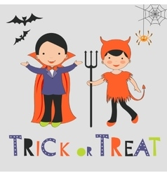Trick or treat halloween card with two kids in vector