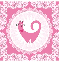 Valentines day card beautiful pink cat with heart vector image vector image