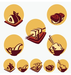 Collection of japanese food symbols vector