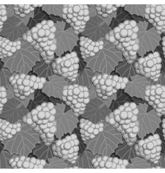 Grapes and leaves grayscale vector