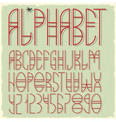 Slim red alphabet letters vector image