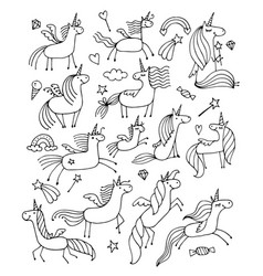 magic unicorns design for coloring book vector image