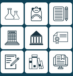 Set of 9 school icons includes library diploma vector