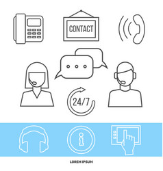 Contact centre or online support concept with line vector