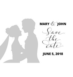 Save the date card with bride and groom vector