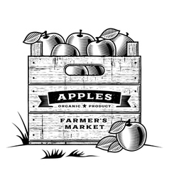 Retro crate of apples black and white vector