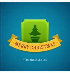 Christmas green tree and ribbon background vector