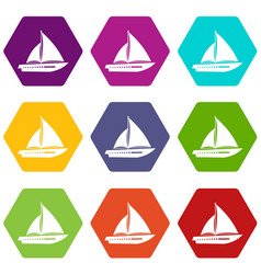 Sailing yacht icon set color hexahedron vector