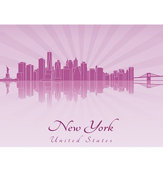 New York skyline in purple radiant orchid vector image