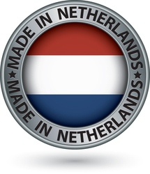 Made in Netherlands silver label with flag vector image