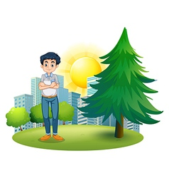 A man standing near the pine tree vector
