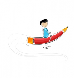 Kid flying on pencil vector