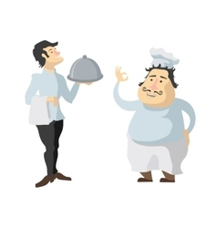 Characters cook and waiter isolated on white vector