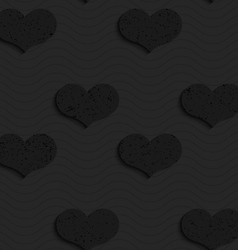Black textured plastic solid hearts vector
