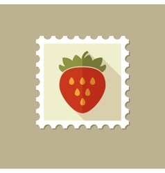 Strawberry flat stamp with long shadow vector