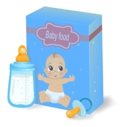 Baby food pack and milk bottle vector