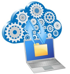 Laptop synchronize cloud server vector