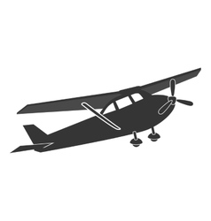 Small airplane flying isolated flat icon vector