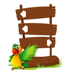 A parrot at the left side of a sign board vector image vector image