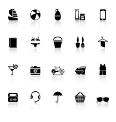 Beach icons with reflect on white background vector image vector image