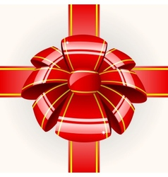 Big red bow with ribbon vector image vector image