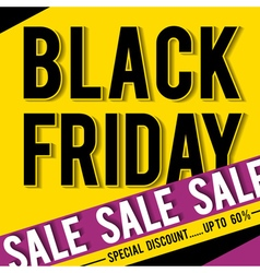 Black friday sale banner on yellow background vector