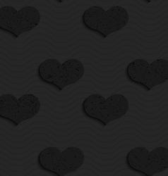 Black textured plastic solid hearts vector