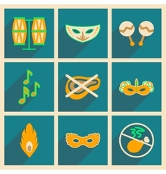 Concept of flat icons with long shadow brazilian vector