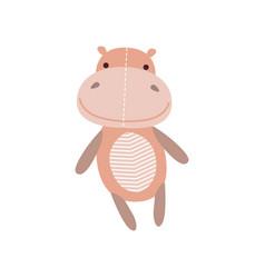 Cute soft hippo plush toy stuffed cartoon animal vector